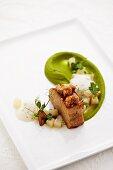 Braised knuckle of veal, glazed sweetbread, peas and kohlrabi