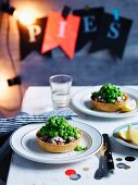 Smoked trout and fennel pies with peas, Fish, Seafood
