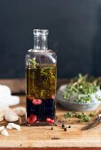 A red wine marinade with garlic and thyme