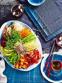 Salad of pickled and fresh vegetables