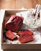 Beetroot cake with poppy seeds and sesame seeds