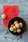 Tsampa balls and a prayer flag (Tibet)