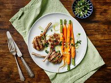 Grilled lamb chops with honey-glazed carrots and gremolata