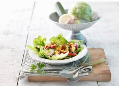 Potato salad with apple, cucumber and sweetcorn