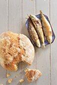 Cornflour bread with smoked sardines (Portugal)