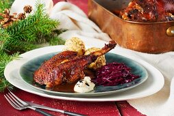 Christmas goose with pretzel dumplings, caramelised red cabbage and celery truffle purée