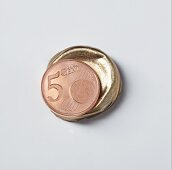 A symbolic image of a gourmet investment: a five Euro cent piece on a wine bottle foil
