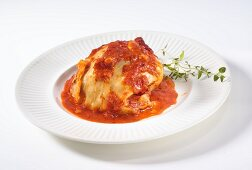 Cabbage roulade with tomato sauce