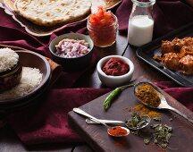 Ingredients for paneer tikka masala with marinated paneer
