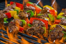 Beef skewers with peppers on a flaming barbecue