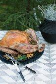 Stuffed turkey on a table outside