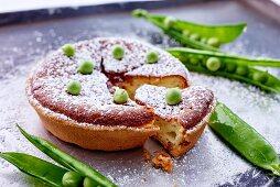Quark cake with fresh peas