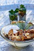 Almond croissants, vanilla crescent biscuits and ginger biscuits