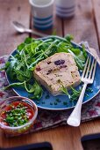 Chicken terrine with cherries and pistachio nuts
