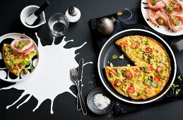 A colourful frittata and Parma ham