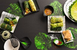 Savoy cabbage roulade with ingredients
