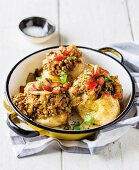 Roast potatoes with lentil curry