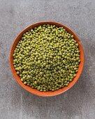Whole dried organic mung beans in a terracotta bowl