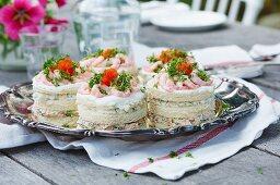 Smörgastarta with salmon and prawns