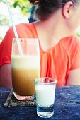 A coffee frappe with milk foam