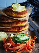 Breaded pork escalope with a side of vegetables