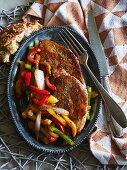 Pork escalopes with a pepper medley