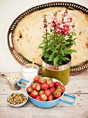 Ingredients for strawberry cake: strawberries, pistachios and hazelnuts
