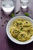 Spaghetti al pesto di capperi (pasta with caper pesto, Italy)