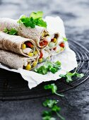 Wraps with a fish and vegetable filling