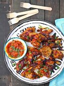 BBQ chicken wings with homemade BBQ sauce