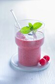 A raspberry smoothie with cucumber