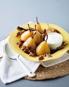 Poached pears with walnuts and yoghurt