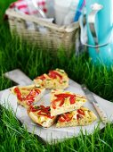 Pasta tortilla with peppers for a picnic