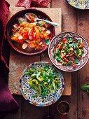 Radish and carrot salad, tomato and preserved lemon salad & grilled bullhorn chilli salad