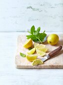 Fresh mint and lemon, whole and cut into wedges