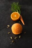 A scoop of orange and carrot sorbet