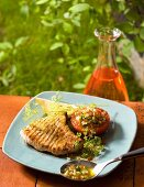 Grilled swordfish steak with anise
