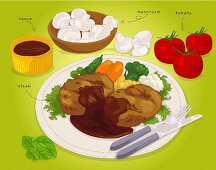 A steak with vegetables and sauce (illustration)