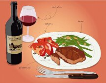 A steak with a side of vegetables and red wine (illustration)