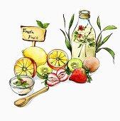 An arrangement of fresh fruit (illustration)