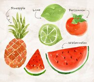 An arrangement of fruit featuring pineapple, limes, persimmon and watermelon (illustration)
