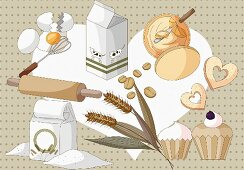 An arrangement of protein-rich and carbohydrate-rich foods (illustration)