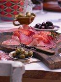 Serrano ham and olives