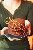 Chocolate cookies tied with string