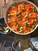 Sweet potato gratin with chilli