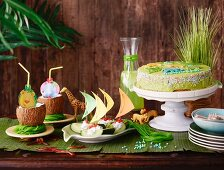 A jungle themed party buffet