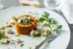 Carrot flan with sheep's cheese and parsley
