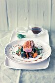 Duck breast with roasted vegetables and mint