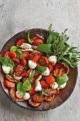 Caprese salad with fried aubergine slices