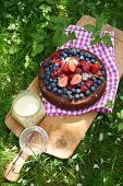 Semi-frozen chocolate cake with berries for a picnic